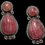 Sterling Silver and Rhodochrosite Earrings