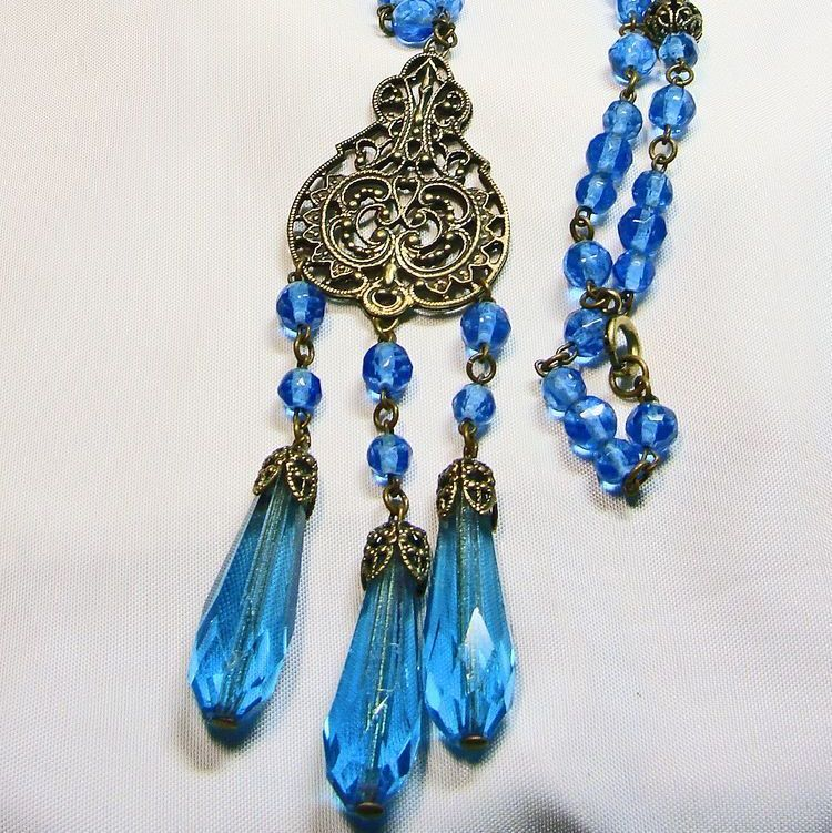 50% Off -Czech Brass Filigree and Blue Glass Stones Necklace