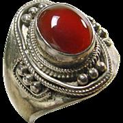 Sterling Silver Carnelian Signet Ring