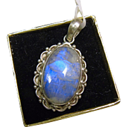 Blue Flash Sterling Moonstone Pendant