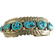 Sterling Silver and Turquoise Nugget Cuff Bracelet
