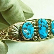Native American Heavy Sterling Silver Cuff Bracelet with Turquoise Nuggets