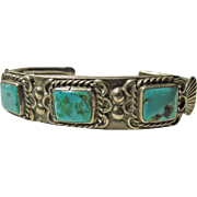 Heavy Sterling Silver and Turquoise Bracelet