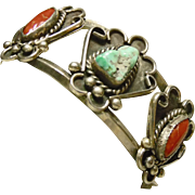 Sterling Silver Cuff Bracelet with Turquoise and Coral