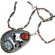 Large Silver Overlay Pendant with Turquoise and Coral on Necklace of Sterling Silver and Red Coral
