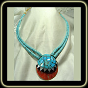 Santo Domingo Inlay Spiny Oyster Shell Pendant on Turquoise Necklace