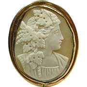 Victorian Carved Shell Cameo of a Woman with Grape Leaves in Her Hair Mounted in Gold Over Brass