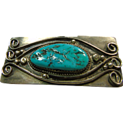 Sterling Silver Broach with Deep Blue Green Turquoise