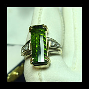 Custom 14k Yellow and White Gold Ring with Green Tourmaline & Diamonds