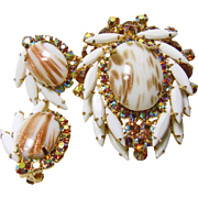 Juliana Brooch and ER with Beautiful Faux Aventurine Copper Fluss and White Milk Glass Navettes