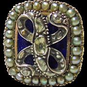 Georgian Royal Blue Enamel, Pearl and Rose Cut Diamond Ring