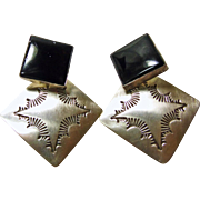 Native American Sterling Silver and Black Onyx Earrings