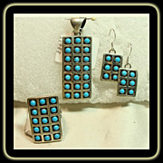 Navajo 3 Piece Set in Sterling Silver with Snake Eye Turquoise