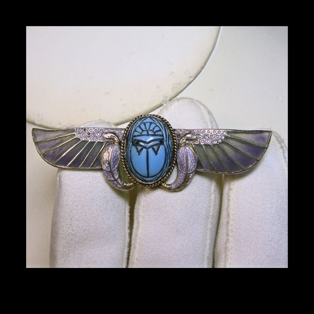 Egyptian Revival Scarab Brooch with  Plique a Jour Wings