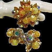 Stunning Set of Orange and Iridescent Orange Rhinestones with Art Glass Beads