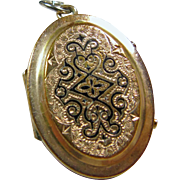 50% Off - Victorian Locket with Gold Front and Back Decorated with Black Enamel