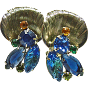 Juliana Flower Earrings with Blue Art Glass and Small; Blue Rhinestones