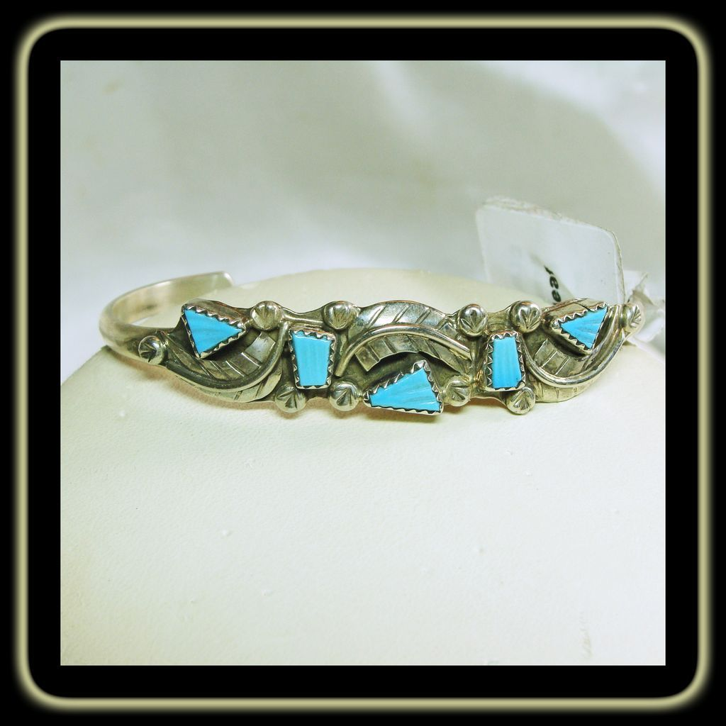 On Hold=  Narrow Sterling Silver Bracelet with Carved Turquoise
