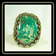 Sterling Silver Ring with Large  Fox Turquoise Cabochon