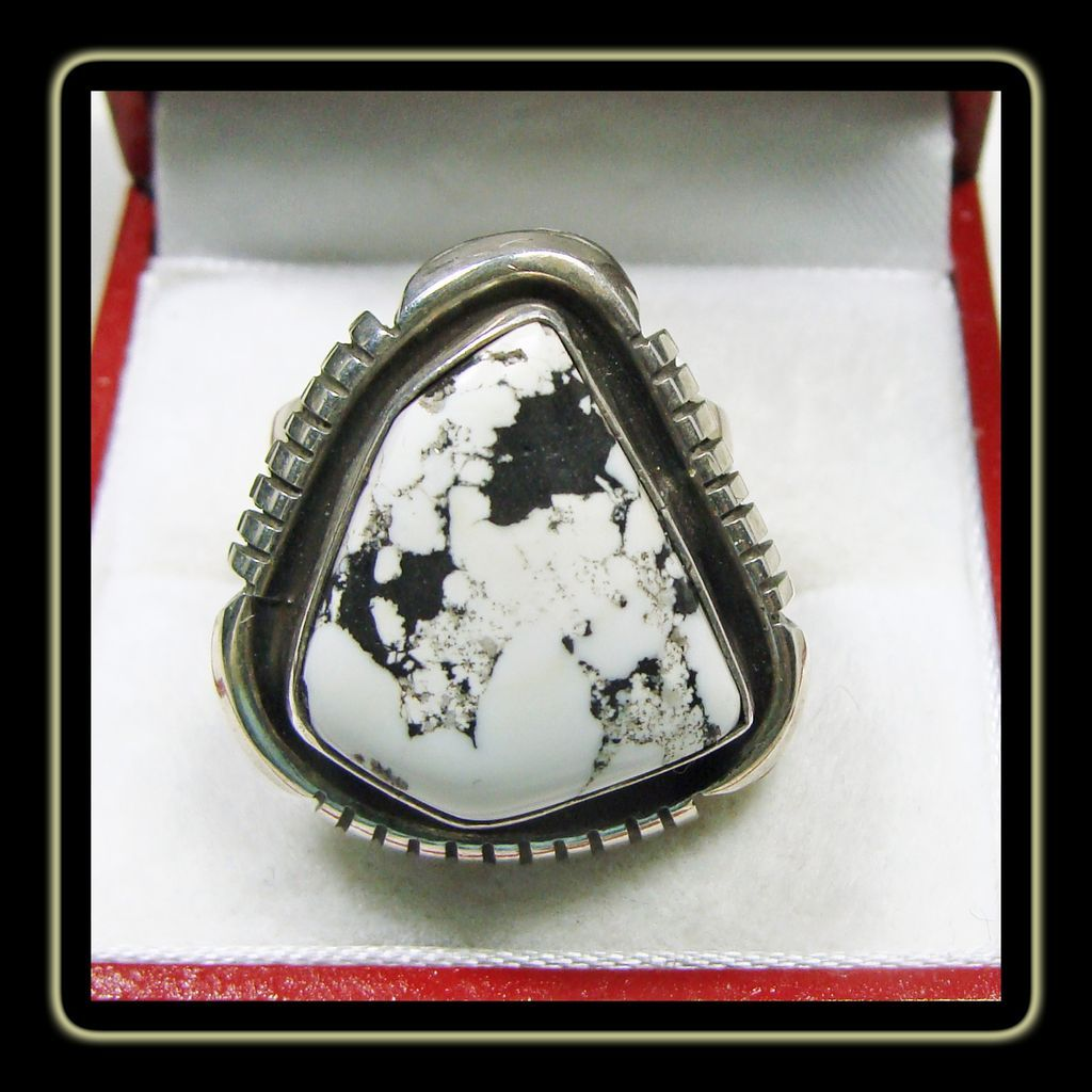 sterling silver ring with white buffalo turquoise sold on