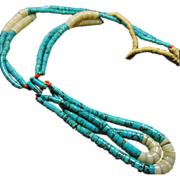 Kingman Turquoise Heishi Necklace with Shell and Coral