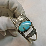 Vintage Native American 2 Wire Cuff Sterling and Turquoise