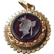 Victorian Gold Over Brass Watch Fob with Glass Intaglio