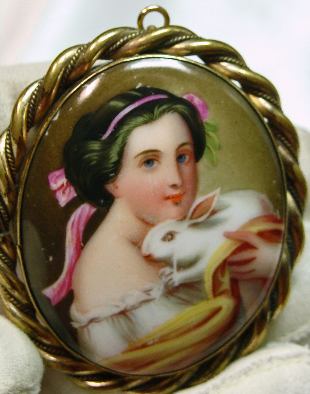 Victorian Gold Over Brass Broach Portrait of a Woman Holding a Bunny
