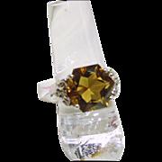 Champagne Quartz and White Topaz Sterling Silver Ring