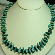 Native American Green Turquoise Tab Necklace with Penn Shell Heishi