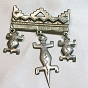 Native American Overlay Silver Design Broach with Drops in the Shape Of Animals