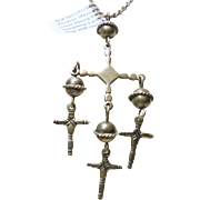 Sterling Silver Mexican Yalalag Cross on a Sterling Silver chain