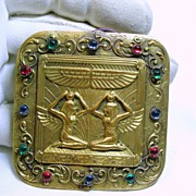 50% Off -Late Victorian Gold over Brass Broach with Wings Of Isis and Winged Goddesses