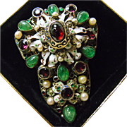 Austro-Hungarian Silver Gilt Clip with Natural Emeralds, Garnets and ,Pearls