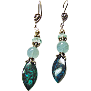 Sterling Chrysacolla Aqua and Blue Topaz Earrings