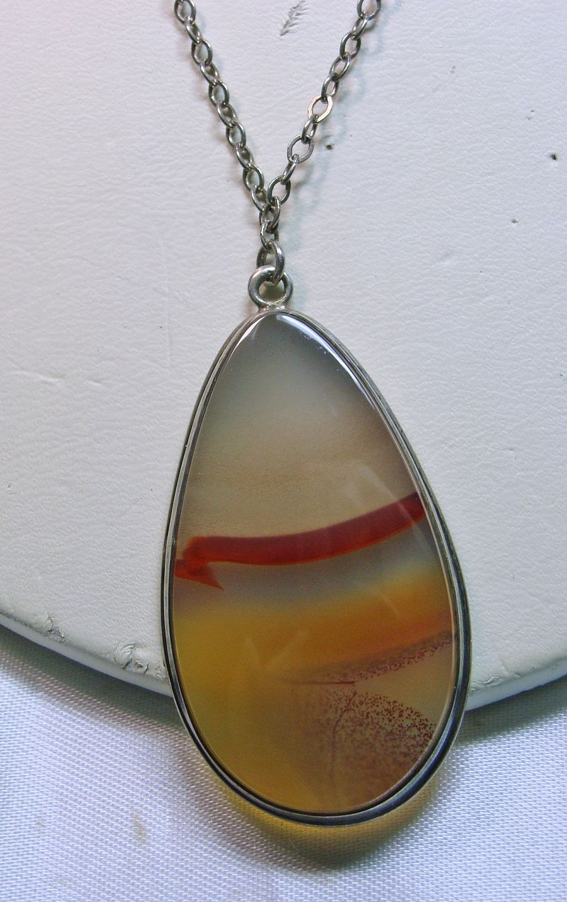 Montana Agate Pear Shape Pendant in Sterling Silver with Chain