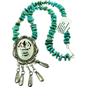 Sterling Silver Inlay Pendant on Turquoise Nugget and Bench Bead Necklace