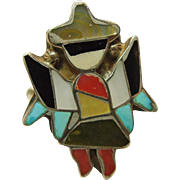 Zuni Sterling Silver Knifewing  Kachina with Stone on Metal Inlay