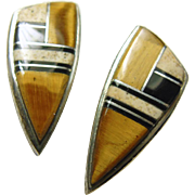 Sterling Silver Earrings with inlay of Tiger's Eye, Jasper and Black Jet
