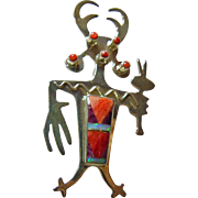 Sterling Dragon Kachina Pin/Pendant by Vandever with Inlay Decoration