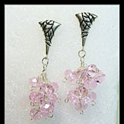 Pink Crystal and Sterling Silver Earrings