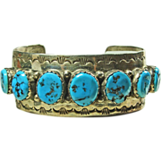 Sterling Silver Cuff Bracelet with Vivid Blue Turquoise by Fred Peters Navajo