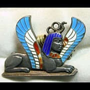 Sphinx Pin/Pendant in  Silver and Brilliant Shades of Enamel