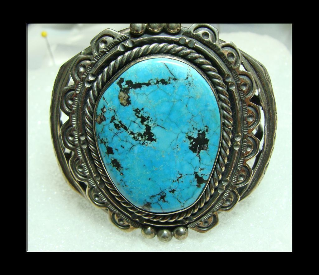 Stunning Morenci Turquoise and Sterling Silver Bracelet