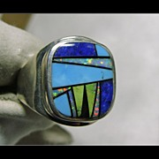 Sterling Silver Signet Style Ring with Intricate Inlay Decoration