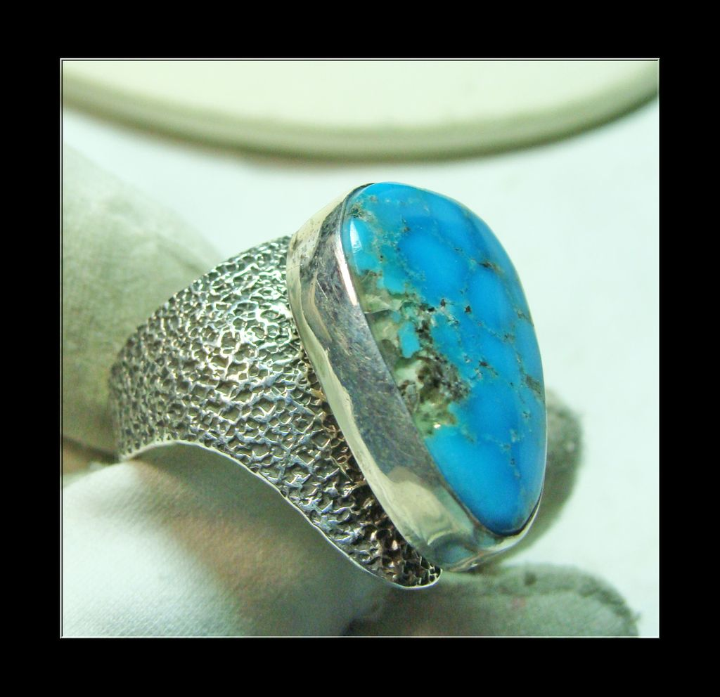 Intense Blue Green Turquoise and Textured Sterling Silver Ring