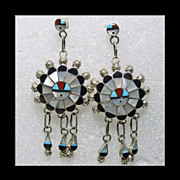Sunface Drop Style Earrings in Sterling Silver and Stone on Metal Inlay