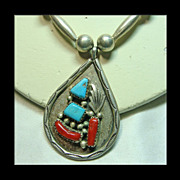 Zuni Bench Bead Necklace with Turquoise and Coral Pendant