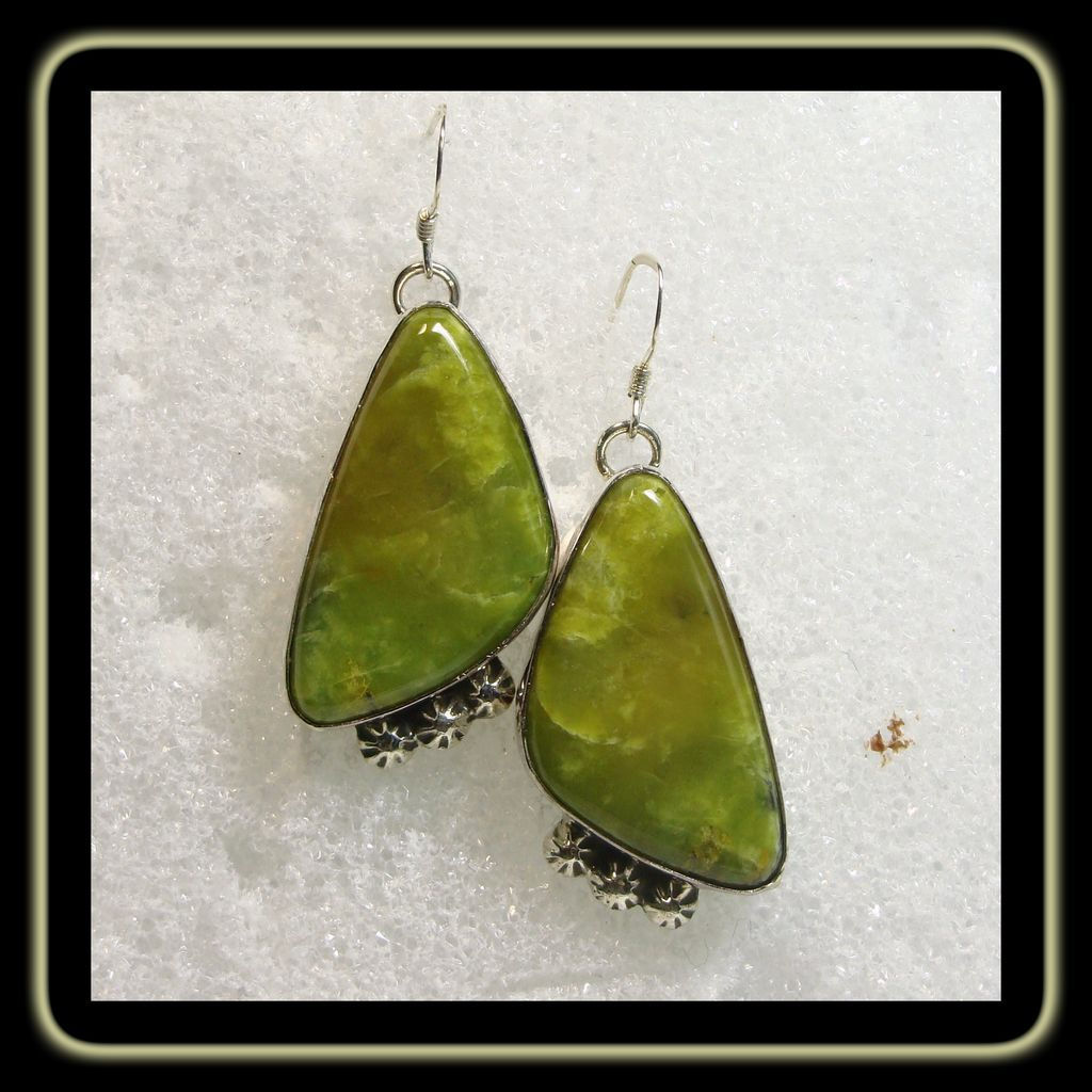 Sterling Silver and Serpentine Earrings