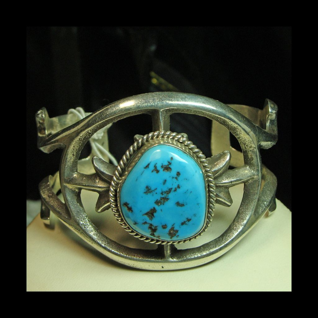 Sterling Sandcast Cuff Bracelet with Sleeping Beauty Turquoise;Signed